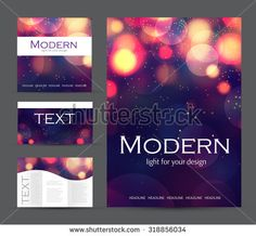 Set of corporate bokeh lights templates. Abstract brochure design. Vector illustration. - Shutterstock Premier