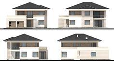 House design Andromeda N m² - Domowe Klimaty Two Story House Design, Two Story Homes, House Entrance, Home Design Plans, Design Case, Home Fashion, Ground Floor, Canopy, Villa
