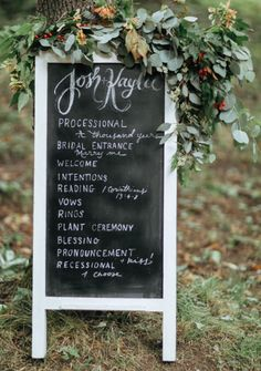 chalkboard program with florals