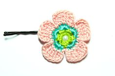 Crochet Flower Pin / Pink Flower Pin / Girl's by CatWomanCrafts