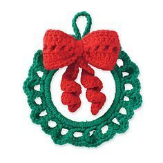 Michaels: Cedar Lodge Crochet Wreath Ornament Pattern by Marie Reyes. Crochet Christmas Wreath, Crochet Wreath, Crochet Christmas Decorations, Christmas Crochet Patterns, Crochet Decoration, Crochet Ornaments, Holiday Crochet, Noel Christmas, Xmas Ornaments