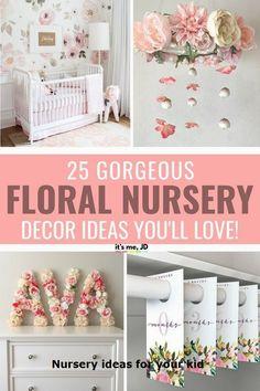 nursery walls - 25 Gorgeous Floral Nursery Decor Ideas You'll Love Kids Wall Decor, Nursery Wall Decor, Nursery Room, Nursery Ideas, Garden Nursery, Nursery Crafts, Baby Girl Nursery Themes, Nursery Artwork, Themed Nursery