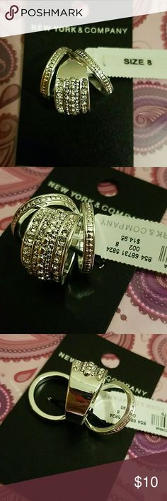NWT sparkling fashion rings size 8 Silver colored. 3 separate rings. All brand new. Bundle up and save New York & Company Jewelry Rings