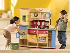 Deluxe Wooden Kitchen Laundry Center By Little Tykes