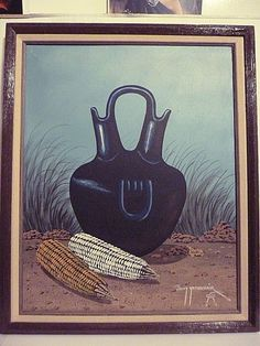 "OIGANAL ARIZONA NAVAJO 16""X20"" WEDDING VASE PAINTING BY ARTIS JIMMY YELLOWHAIR"