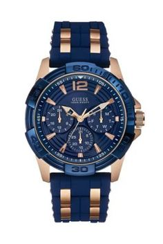 f213d52e1 Blue and Rose Gold-Tone Masculine Sport Watch at Guess