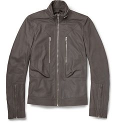 Rick Owens Slim-Fit Leather Bomber Jacket