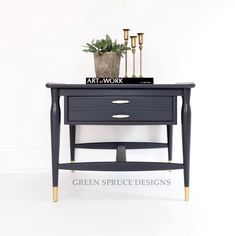 """""""I spruced up this end table with General Finishes Queenstown Gray Milk Paint and Flat Top Coat. The feet were painted brass to match the original hardware. Furniture Board, Furniture Styles, Furniture Projects, Furniture Makeover, Furniture Design, Gray Painted Furniture, Paint Brass, Family Kitchen, Milk Paint"""