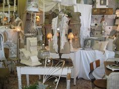 Cheryl's gorgeous white booth at Antiques in Old Town in Georgia.