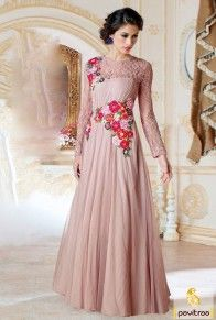 Beige Santoon Net Designer Gown #gown, #dresses, #partyweardress, #longdress, #westerndress, #designergown, #fancydress, #uniquesuits, #yellow  http://www.pavitraa.in/gown.html Call Us : +91-7698234040 (WhatsApp)