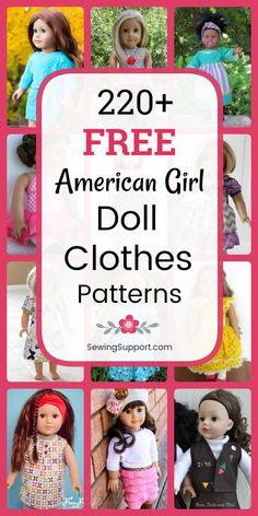 Free Doll Clothes Patterns - 18 inch American Girl - Doll DIY: Over 200 free 18 inch American Girl doll clothes sewing patterns, tutorials, and - Doll Patterns Free, Baby Clothes Patterns, Doll Dress Patterns, Doll Sewing Patterns, Sewing Dolls, Free Pattern, Pants Pattern Free, Pattern Sewing, Pattern Ideas