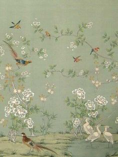 beautiful chinoiserie ~ to find a similar fabric or wallpaper see decoratorarchives., or gorgeous hand-painted papers at chinese-wallpaper. Hand Painted Wallpaper, Painting Wallpaper, Fabric Wallpaper, Wall Wallpaper, Wallpaper Wallpapers, Gracie Wallpaper, Bird Wallpaper Bedroom, Handmade Wallpaper, Doll House Wallpaper