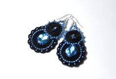 Blue Crystal Coctail Earrings Holiday by HeriniasJewelryChest, $41.00