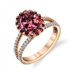 Omi Prive: Peach Tourmaline and Diamond Ring