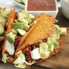 Low Carb Taco Night with Cheese Taco Shells - Home.-Have a low carb taco night with these low carb cheese taco shells made from baked cheddar cheese formed into the shape of a taco! Easy Healthy Recipes, Paleo Recipes, Mexican Food Recipes, Low Carb Recipes, Cooking Recipes, Dinner Recipes, Simple Recipes, Low Carb Tacos, Keto Cheese