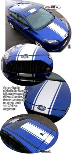 Ford Focus Rally Stripe Graphic kits that are Precut and ready to install.
