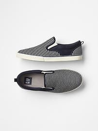 Stripe denim slip-on sneakers