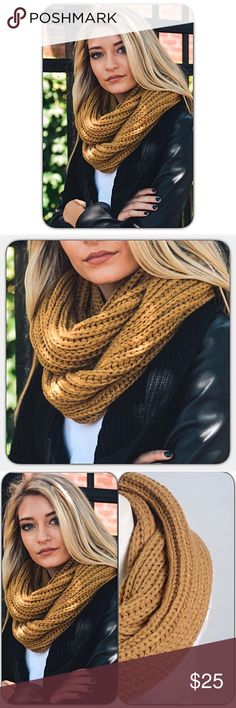 """Chunky Knit Infinity Scarf Gold Mustard Stay warm & look great in this gorgeous golden camel brown infinity scarf!  Chunky braided 100% acrylic. 26"""" x 12"""". Such a flattering color for the season! blanket Accessories Scarves & Wraps"""