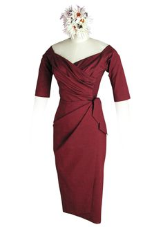 Whirling Turban- Wide V-neck Dress in Bordeuax