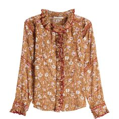 Isabel Marant Étoile Mauryn Printed Ruffled Blouse (€363) ❤ liked on Polyvore featuring tops, blouses, multicolored, bohemian blouses, flounce top, boho tops, flutter blouse and bohemian style tops