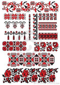 Folk Embroidery Patterns Ukrainian embroidery pack by Boordon, via Dreamstime - Hungarian Embroidery, Folk Embroidery, Learn Embroidery, Cross Stitch Embroidery, Embroidery Patterns, Crochet Patterns, Cross Stitch Borders, Cross Stitching, Cross Stitch Patterns
