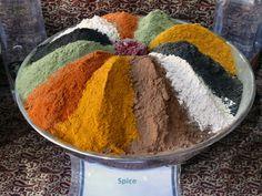Spice bowl in a shop at the Bazaar-e Vakil, Shiraz, Fars,