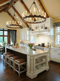 Are you looking for rustic kitchen design ideas to bring your kitchen to life? I have here great rustic kitchen design ideas to spark your creative juice. Country Kitchen Designs, French Country Kitchens, French Country Decorating, Modern Kitchen Design, Interior Design Kitchen, Modern Design, Country Farmhouse, Farmhouse Design, French Country Bar Stools
