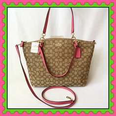 """Authentic Coach Logo Handbag % AUTHENTIC✨ Beautiful logo large handbag from Coach. Lightweight & very versatile. Top handle, crossbody & shoulder bag.Length 16"""" Height 11"""" Width 4"""" with detachable long strap. Color: Khaki & Dahlia (pink) 3 inside pockets. Zipper top closure. Yellow gold tone hardware Materials: Canvas with leather trimmings & straps. NO TRADE  Coach Bags Satchels"""