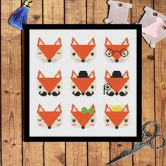 Nine cute fox cross stitch pattern Modern cross by AnnaXStitch