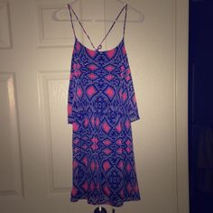 Gorgeous blue and pink dress Super cute and fun for spring and summer. Worn once, bought from Apricot Lane boutique. Size S. Peppermint Dresses