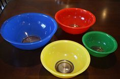 Set of 4 Vintage Primary Color Pyrex Mixing Bowls with Clear Bottoms | eBay