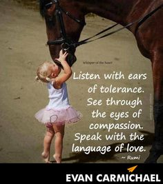 """""""Listen with ears of tolerance. See through the eyes of compassion. Speak with the language of love."""" – Rumi - http://www.evancarmichael.com/blog/2014/03/30/listen-ears-tolerance-see-eyes-compassion-speak-language-love-rumi/"""