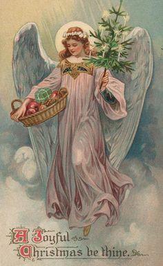 Christmas card (colour litho), English School, (20th century)