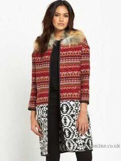 River Island Faux Fur Collar Jacquard Coat Women's Coats & Jackets ...