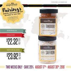 PAIRING SPECIAL:ONLY UNTIL AUG. 30th Tandoor Spice Blend & Saffron Specialty Salt