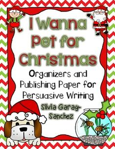 This is a persuasive letter writing activity.  Students combine their letter writing skills with the art of persuasion.  The task is to convince someone (parents, Santa, grandparents) to get them a pet for Christmas.  This download consists of graphic organizers, final writing paper, and a few posters.