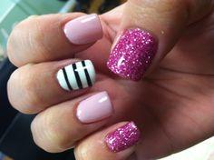 Pink strike nails