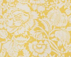 Great Floral - Yellow on Oyster | Bennison Fabrics