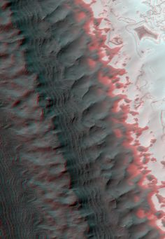 Exposure of Layered Deposits in the Southern Polar Cap of Mars. An anaglyph (viewable in 3D using red-blue glasses) made from a pair of images acquired by the HiRISE instrument aboard the Mars Reconnaissance Orbiter. The area shown is about three kilometers across.
