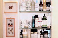 "my own ""top shelf"" staged in my grandmother's elegant bathroom"