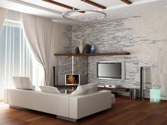 Kamień w salonie