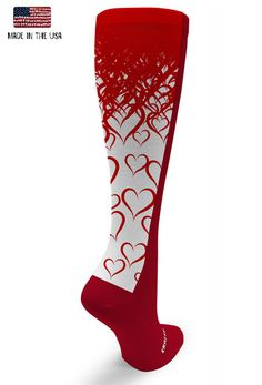 Red OTC Lots of Hearts  #crazyclan #crazycompression #madeinusa