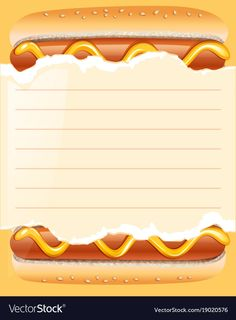Paper template with hotdogs in background Vector Image Food Poster Design, Menu Design, Arte Do Sushi, Menu Template, Templates, Food Business Ideas, Food Wallpaper, Shawarma, Dog Birthday