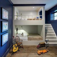 Bunk room ideas with beautiful bun beds for kid's, girl's and adult. Cool and creative built-in bunk beds ideas. Bunk room ideas that you want for your rooms. Home, Home Bedroom, Bedroom Design, Bed Design, Loft Spaces, Modern Room, Bunk Bed Designs, Cool Rooms, Room Design