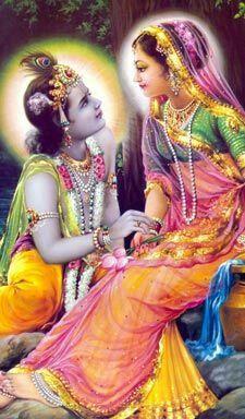 Krishna gazes into Radharani's lotus eyes