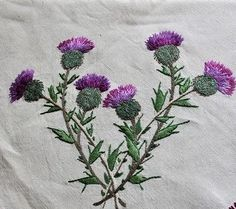 Etched glass, thistle, Perth church entrance way, Scotland. I need to find a place for this in my new house. Crewel Embroidery, Cross Stitch Embroidery, Embroidery Patterns, Fabric Crafts, Sewing Crafts, Bordado Floral, Thread Painting, Embroidery Techniques, Cross Stitch Designs