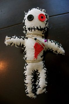 Hand Stitched Voodoo Doll with Red Heart from BatinyourBelfry