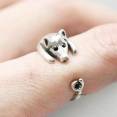 Adjustable Cute Pig Ring ,Animal Ri