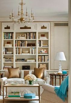 living room with built in bookcases