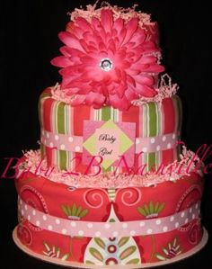 Modern Girl Diaper Cake by Baby2BNashville on Etsy,